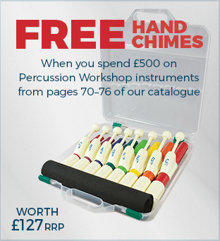 Free hand Chimes when you spend £500 on Percussion Workshop instruments from pages 70–76 of our catalogue