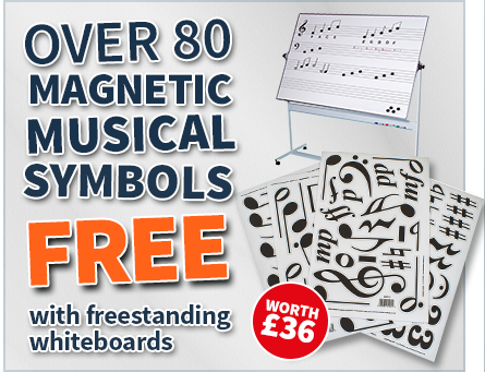 Free magnetic musical symbols with all freestanding whiteboards