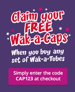 Free Wak-a-caps when you buy any set of Wak-a-tubes. Enter code CAP123 at checkout